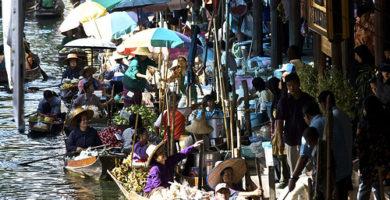 Visitar el mercado flotante - tailandia