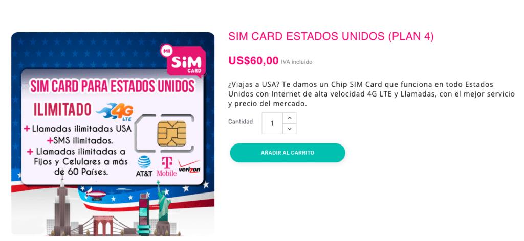 MiSimCard precio tarjeta de datos ilimitados para viajar