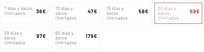 Precios tarjeta SIM NorteAmerica